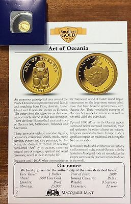 2008 art of Oceania i  .9999 Gold , 1 dollar Palau