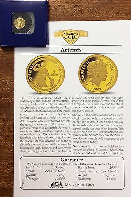 2009 Artemis .9999 Gold , 5 dollars cook islands