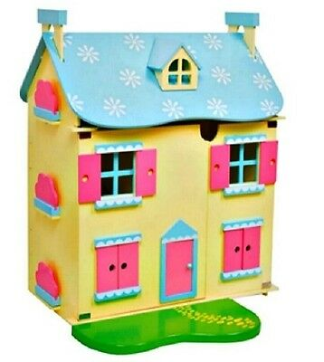 New  Wooden Dollhouse,dolls House With Full Furniture And 4 Dolls Free Cake Rack