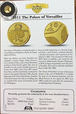 2011 the palace of Versailles 5 euro .9999 fine gold France