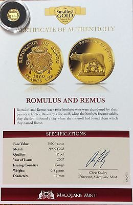 2007 Romulus and Remus 1500 francs .9999 gold Congo