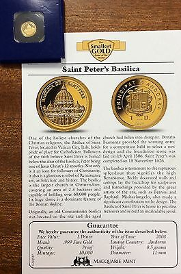 2008 Saint peters basilica  .9999 Gold , 1 diner Andorra