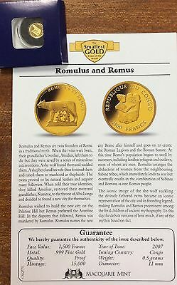 2007 Romulus and Remus  .9999 Gold , 1500 francs Congo