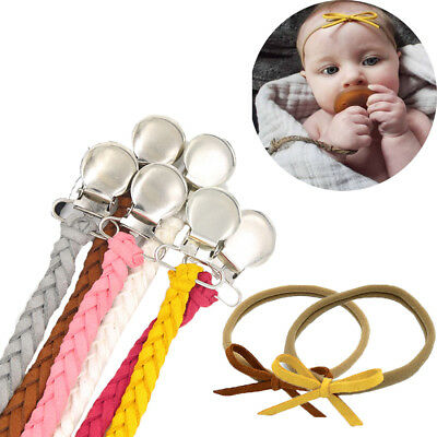2pcs/set Leather Pacifier Clips Dummy Holder Braided Nipple Holder Soother Chain