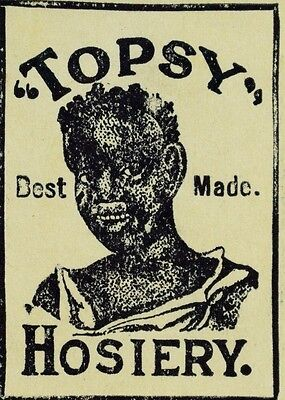 1880's-90's Topsy Hosiery Black Americana Victorian Trade Card Label F92