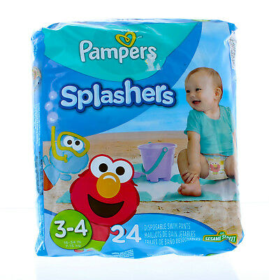 Pampers Splashers 24 Count Disposable Swim Diapers Pants Size 3-4 Weight 16-34lb