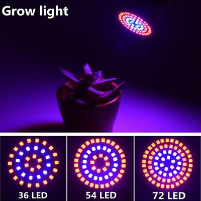 E27/GU10/MR16 Hydroponic Lamp 36/54/72LED Grow Lights Full Spectrum Plant Bulb