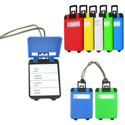 5Pc Travel Luggage Bag Tag Plastic Suitcase Baggage Office Name Address ID Label