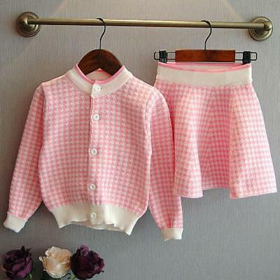 Toddler Baby Kids Girls Outfit Clothes Plaid Knitted Sweater Coat Tops+Skirt Set