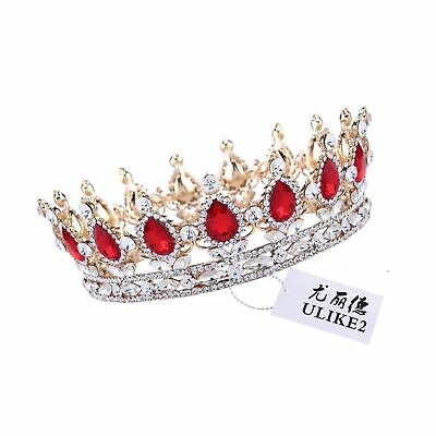 Ulike2 King/queen Crown Red Ruby Stone Sapphire Tiaras Gold/silver Plated Hai...