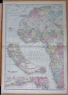 1890 Large Victorian Map - Africa West
