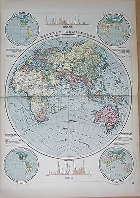 1890 Large Victorian Map -  Eastern Hemisphere Decorative Map, 7 Images