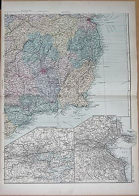 1890 Large Victorian Map - Ireland South East, Environs Of Dublin, Cork