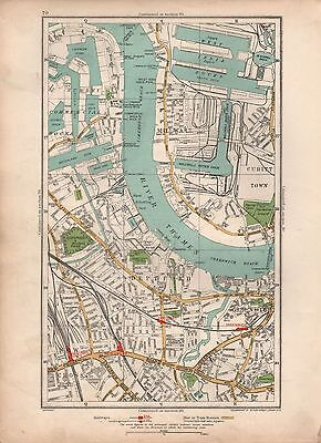 1936  Large Scale Vintage London Map Millwall Deptford Greenwich Commercial Dock