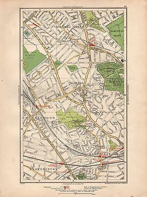 1936 Large Scale Map -  London  Golders Green Childs Hill West Hampstead Crickle