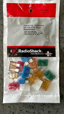 15 pack of assorted blade type ATC fuses for auto, new in package