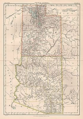 1898 Antique Map Britannica Utah & Arizona