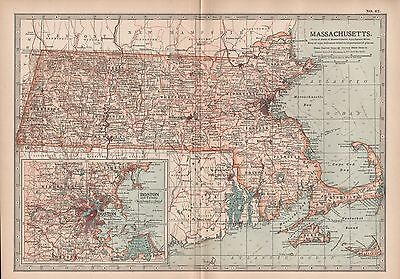 1903 Britannica Antique Map-United States-Massachusetts, Inset Boston