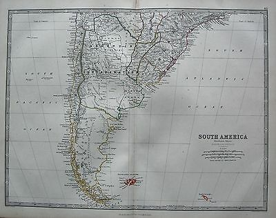 1868 Large Victorian Map : South America Southern Sheet