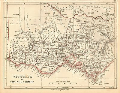1853 Ca ANTIQUE MAP H/COL LOWRY-AUSTRALIA, VICTORIA OR PORT PHILIP DISTRICT