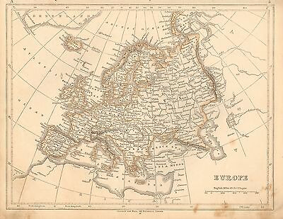 1853 Ca ANTIQUE MAP H/COL LOWRY-EUROPE