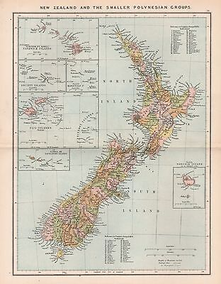 1885 Ca ANTIQUE MAP RECLUS : NEW ZEALAND AND THE SMALLER POLYNESIAN GROUPS