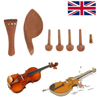 Hand Carved Violin Fitting Set:Pegs Tailpiece Chinrest Endpin Violin Accessories