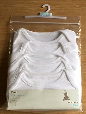 New John Lewis Baby Pack Of 5 White T-Shirt / Short Sleeved Vests 6-9 Months