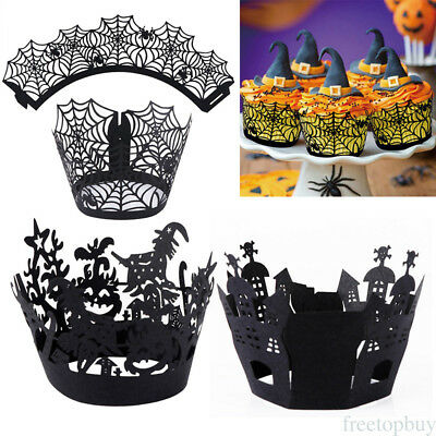 Halloween Party Hollow Cake Cup Paper Case Wraps Cupcake Wrapper 12 Pcs Funny