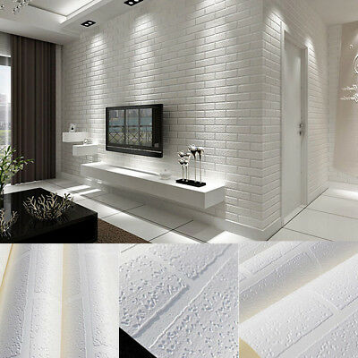 3D Modern Brick Stone Style Wallpaper Roll White Textured Wall Paper 10M*0.53M
