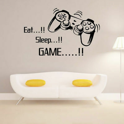 Removable Wall Stickers Eat Sleep Game Wall Art Gamer Bedroom Black Decal