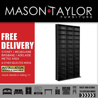 Mason Taylor CD DVD Storage Shelf Rack Stand Book Unit Cupboard Adjustable Brown