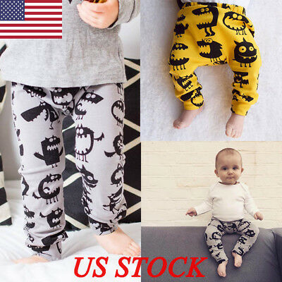 US Newborn Baby Boys Girls Kids Monster Pants Bottoms Trousers Outfit Clothes