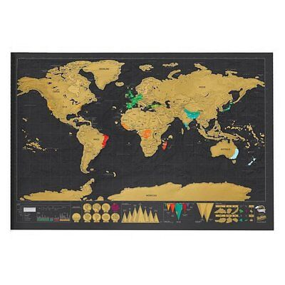 New Deluxe Travel Edition Scratch Off World Map Poster Personalized Journal YW
