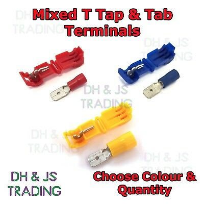 T Tap Connectors & Tab Connector Male Female Mix Crimp Terminal Scotchlock T-Tap
