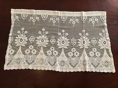 Small Vintage Panel Of Cotton Lace Curtain For Top Of Small Window Rod Pocket