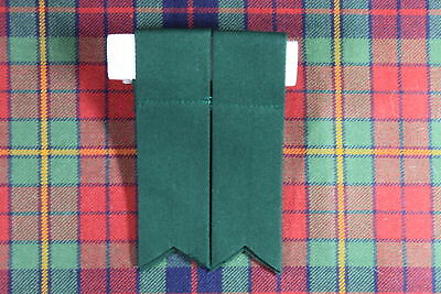 NEW SCOTTISH HIGHLAND KILT Polyester HOSE / SOCK FLASHES WITH GARTERS IN GREEN