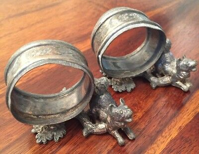 Pair Of Victorian Napkin Rings Dogs Figural Silver Plate