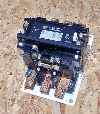 8502 SGO2 Square D size 5 contactor with 120 volt coil (over 90% on contacts)