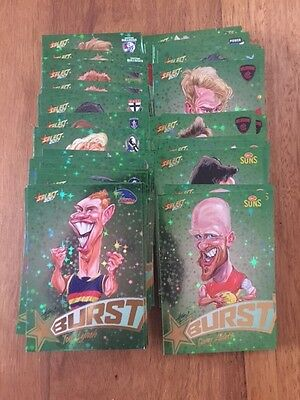 2017 Afl Select Footy Stars Green Starburst Cards - Choose Your Card - $3 Each!!