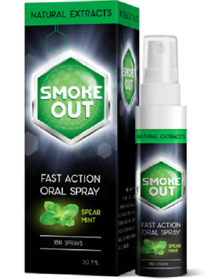 SPRAY MOUTH SMOKE OUT getting rid of nicotine addiction,removes tar from lungs