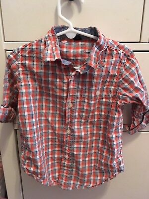 Baby Gap Toddler Boys Plaid Button Down Shirt 3 Years. Orange and blue. GUC!