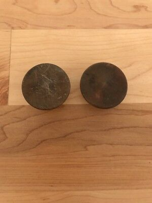 """2 Antique Round Domed Wood 1 1/2"""" Drawer Pulls Knobs"""