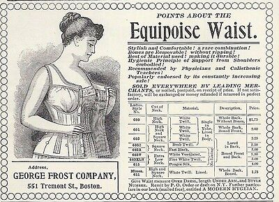 1895 PRINT AD ~ CORSET ~ EQUIPOISE WAIST ~ George Frost Co., Tremont St., Boston