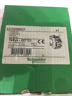 LC1D098U7 4 Pole Contactor 9A 240 V AC Coil new in OE packaging Tesys 027721