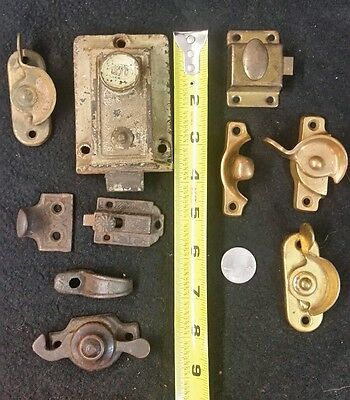 Lot of 9 Vintage Antique Window Sash Latch Lock, Cabinet Door, Covers Parts ILCO