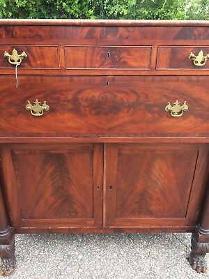 American Empire Mahogany Buffet Cabinet Carved Claw feet Motif c1850