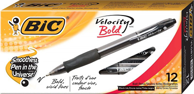 BIC Velocity Bold Retractable Ball Pen Bold Point (1.6mm) Black 12-Count NEW