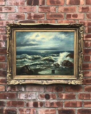Maine Moonlit Seascape O/C Painting By Paul Dougherty. Circa 1930's. Signed