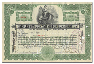 Peerless Truck and Motor Corporation Stock Certificate